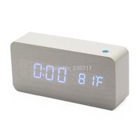 White New Modern Classic Wooden Wood USB Digital LED Alarm Clock Calendar Thermometer