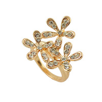Fashion Cute Shining White Rhinestone Gold filled Flower Mood Rings For Women 2014