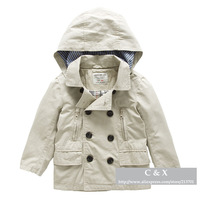 Children's Outerwear Autumn / Winter Brand Solid Color 100% Cotton Double-breasted Boys Girls Trench Jackets Coats Baby Clothing
