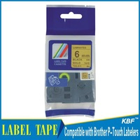 Cheap China 6mm black on gold tz label tape tz-811