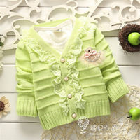2014 Child Girls Cartoon Long-sleeved sweater coat,baby open stitch sweaters,V1491