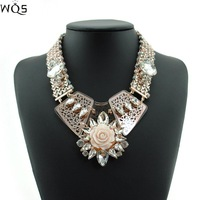 Crystal Chunky Necklaces & Pendants Women Chain Statement Necklace 2014 Fashion Vintage Big Pendant Necklace Jewelry Wholesale