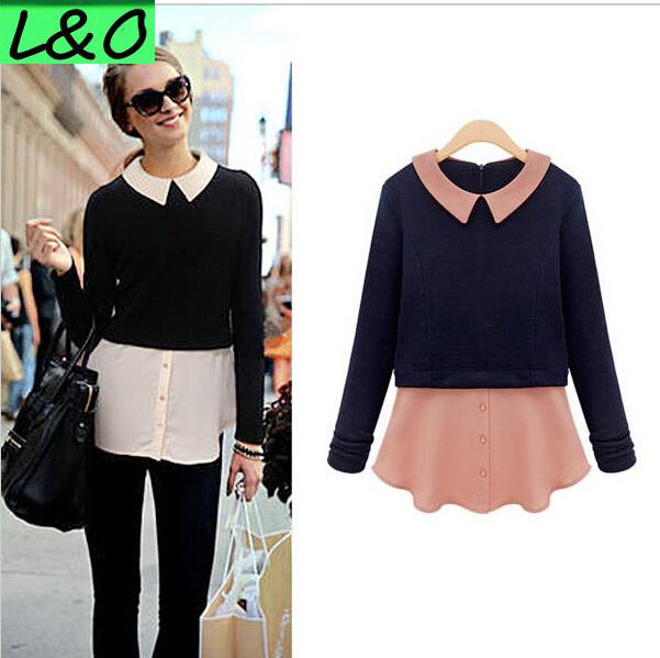 Hot moda Blusas roupas femininas manga comprida contraste blusa de Chiffon de malha Zipper ocasional Blusas parte superior da camisa grátis frete #794(China (Mainland))