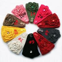 2014 New Flower rhinestone Women Headband Knit Crochet Headwrap Winter Ear Warmer for Girl Teens Women size 50cm*16cm 10 pcs/lot