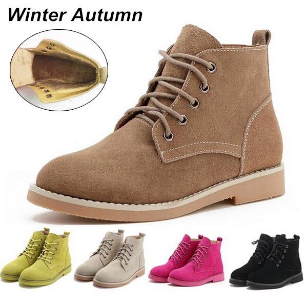 women real leather boots flat heels shoes short platform l
