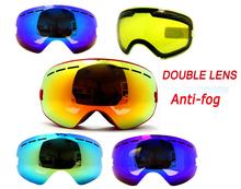 New genuine brand ski goggles double lens anti-fog big spherical professional ski glasses unisex multicolor snow goggles BNC(China (Mainland))