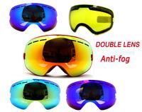 New genuine brand ski goggles double lens anti-fog big spherical professional ski glasses unisex multicolor snow goggles BNG