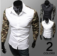 New Band Male Dress Fashion Camouflage Print Patchwork Casual-Shirt Social Slim Fit Camisetas Masculina Free Shipping Qycs22