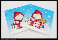 Food-grade Christmas Snowman Paper Napkin Event & Party Tissue Napkin Supply Decoration Paper 33cm*33cm 1pack/lot