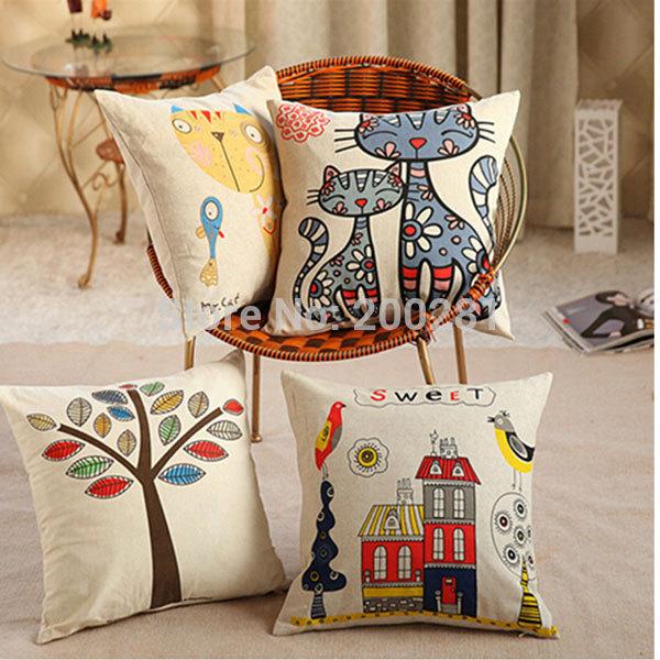 45cmx45cm Home Decor Cat/Red House Print Cotton Linen Cushion Cover Pillow Case Waist Cushion Sofa/Bed/Cars Decoration(China (Mainland))