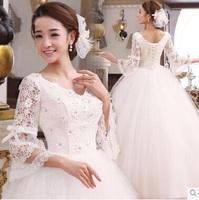 Korean Long-sleeve V neck Wedding Dress Formal Dress Sweet Princess Wedding Dress Lace Rhinestone Wedding Dress S, M, L, XL
