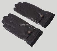 Black Velvet Lining 1 Button Mens Genuine Leather Wrist Gloves Warm Winter Gloves