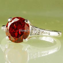 Wholesale Gorgeous Round Cut Garnet White Sapphire 925 Silver Ring Fashion Jewelry Size 6 7 8