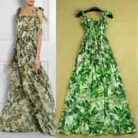 2014 magnolia denudata print spaghetti strap dress bohemia summer maxi dress