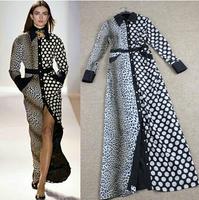 2014 Fashion long sleeve leopard print polka dot dress elegant maxi dress
