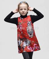 2014 Brand Design Girls Dress High-End European American Children Clothing Floral Christmas Dress Princess Sleeveless Autumn