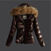 2014 New women winter jacket Short style Large Raccoon Fur Collar metal belt Zipper warm Slim Hooded coat Women duck down jacket