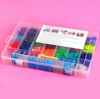 DIY loom colorful rubber bands Complete Package with Hook kit( 2200pcs bands +1 pc loom +12pcs charms +6 pcs hook+48 s-clips )