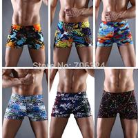 New 2014 Men swimwear beach shorts Sexy Printing swimming trunks Low waist Shorts Boxers Men Swimsuit briefs M,L,XL,XXL