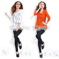 2014 Fashion Loose Long-sleeved Letter T-shirt Modal Female Shirt Women  Pullover Knitted Blouse  Winter Base Tops Shirt