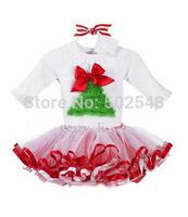 Retail  Girls Christmas Dress Long Sleeve Christmas Tree Princess Dress Kids Colthes Free Shipping 1 PCS