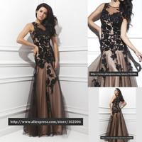 2014 Formal Black Lace Appliques Tulle Long Evening Dress Event Special Occasion Dresses vestido de festa vestido de renda