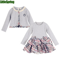 2014 Girl's clothes Spring & Autumn Clothing sets cotton plaid long sleeve dress+cardigan Little Spring GLZ-T0346