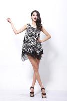 European style big yards milk silk rose print swing dress irregular