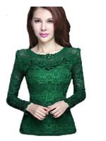 Free Shipping Women round neck long-sleeved Cutout Lace Shirt ,Slim Girls Plus Size Fashion Lace Bouses   M L XL XXL XXXL 4XL
