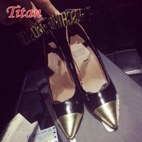 Stuuning women letters sequined low high heel pointed toe ankle strap  pump color stictching black and gold dress shoes