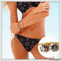 New Fashion Shiny Rhinestone Pendant Belly Chain Necklace Women Sexy Bikini Body Jewelry Gold body chain S042A