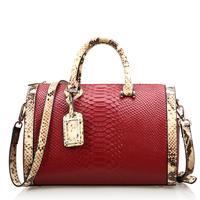 Fashion Genuine Leather Women Handbag Serpentine Pattern Women Bag Cowhide Cylinder Type Casual Shoulder Bags HB-184