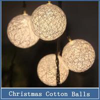 1set 3m Christmas String Light 20 Bulbs AA Battery Luminarias home party Wedding Halloween decoration garland Cotton Ball Lights