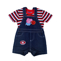 Free shipping 6 sets / lot 1~4y children boy embroidery george denim strap shorts with stripe short sleeve t shirts