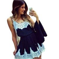 2014 Summer Hot Sale Women Short Casual Dress Desigual White Lace Patchwork Vestidos Femininos Strap Pleated Chiffon Dresses