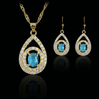 sky blue amethyst  fashion 18k gold plated birthday Xmas cubic zircon CZ  Necklaces & Pendants Earring bridal jewelery sets gift