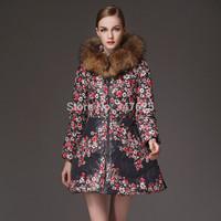 women's thick long winter skirt type down coat natural real fur hooded down parkas zipper warm print white duck down coats S-4XL