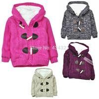 winter children sweater jacket girl sweater cardigan warm stripe knit Sweaters boys kids sweater coats 2-3-4-5T