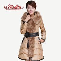 2014 New Fashion Luxury Big Fur Collar Winter Coat Women Medium Long Design Down & Parkas Thicken Outerwear Coat with belt