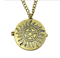 1pc European American vintage gold plated Jensen Ackles Jared Photos Dean Winchester Supernatural Necklace womens mens jewelry
