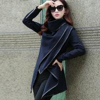 HOT 2014 New Arrival Autumn winter woolen Coat Womens overcoat women Slim Trench Desigual femininos Wool & Blends S-XXL