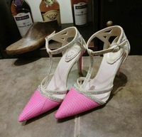 New 2014 woman heels shoes slope pointed toe women studded shoes wedge high heel sandals