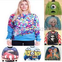 2014 New Autumn and winter  fashion women hoodies  balloon house 3D printing thin women's sweater hoodies