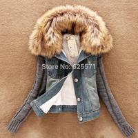 New 2014 Autumn winter women's short denim jacket coat slim blush collar cotton denim jeans knit sleeve fur lining outerwear