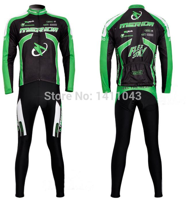 Купить онлайн Мерида дети долго sleevethermal флис зеленый Велоспорт комплект износ велосипедов Джерси и брюки