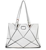 2014 new European style woman handbag irregular figure shoulder bag stitching individuality patchwork female black white bag