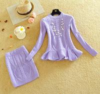 2014 New Knitted Crop Top and Skirt Set 2 Piece Set Women Skirt Top Pattern Crochet Long Sleeve Sweater Pencil Knitted Skirt