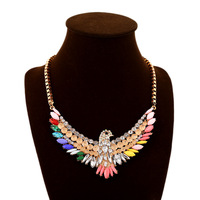 Big star brand colorful feather AB crystal bohemian necklace jewelry New fashion glass wings eagle hawk pendants necklace
