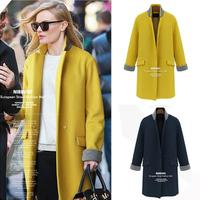New 2014 Autumn And Winter Fashion Coat Long Section Single Button Woman's Coats Slim Cotton Women Coat Free Shipping NZ015