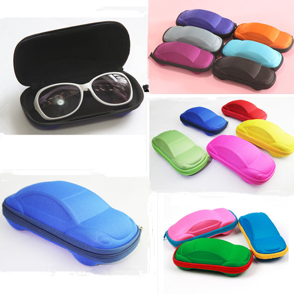 2015 NEW Solid Color Kids Car Shaped Packaging Case Box Compression Eye Glasses Storage Sunglasses Protector Random Color 1pcs(China (Mainland))